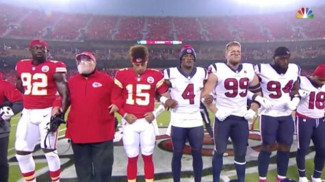 "The Kansas City Chiefs and Houston Texans link arms in a ""moment of unity"" prior to their season-opening game on Sept. 10."