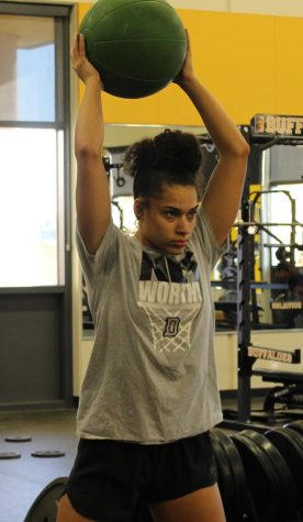 Katelyn Kennedy workout with medicine ball at pre-season conditioning