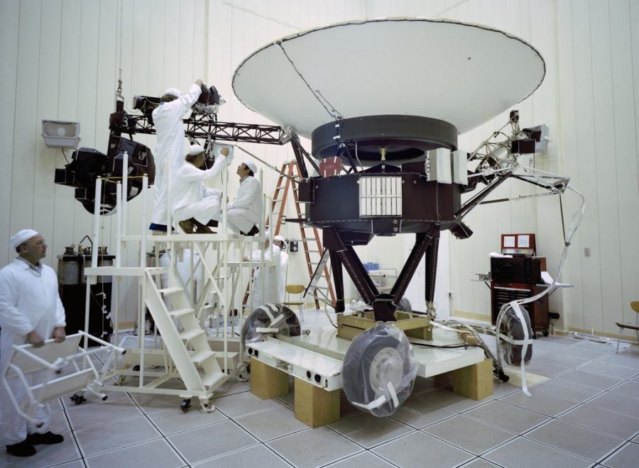 NASA Engineers at work on the Voyager 2 probe in 1977.